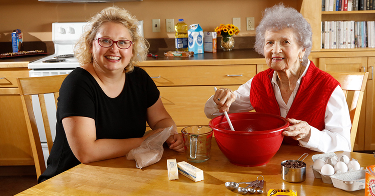 Eventide Assisted Living woman baking